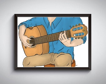 The Man and His Spanish Guitar (Print at home PDF ONLY)   Digital Art   Size: A3