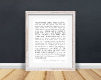 office decor for man man cave man in the arena quote by theodore roosevelt printable graduation gift for dad office decor citizen republic fathers day decor men etsy