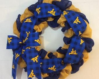 WVU Yellow Burlap Wreath