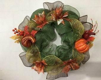 Deco Mesh Fall Wreath, Autumn Wreath, Thanksgiving Wreath
