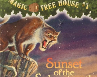 Sunset of the Sabertooth||Magic Tree House book 7, 1996 vintage book, children's book, chapter book, time travel, science fiction, fiction
