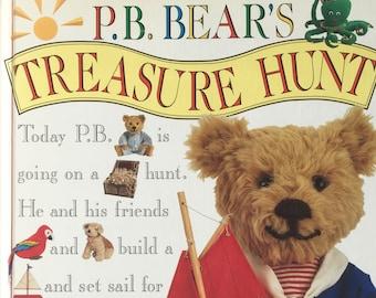 P.B. Bear's Treasure Hunt||vintage children's book, PB Bear book, seek and find, hidden objects, preschool, toddler activity, busy book