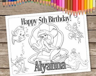 Ariel 6 Coloring Pages Little Mermaid Birthday Disney Princess Printable Party Favor Activity Sheet