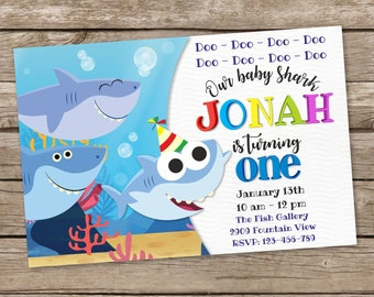 Digital Baby Shark Song Invitations Birthday Party Invites First Printable Invitation