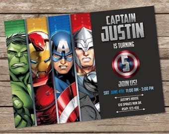 Avengers Birthday Invitation Hulk Invites Superheroes Personalized Printable Digital File
