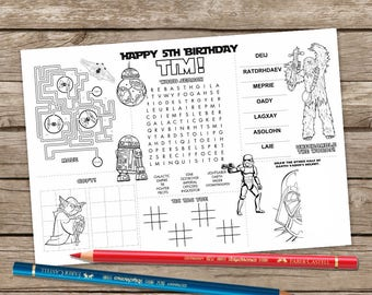 Printable Star Wars Placemat Kids Activity Table Mat Birthday Craft Page