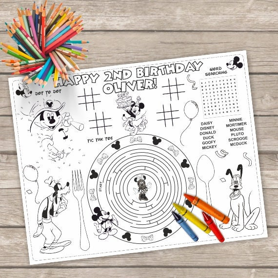 Printable Mickey Mouse Placemat Kids Activity Table Mat Mickey Printable Birthday Craft Minnie Mouse Activity Page Printable Placemat