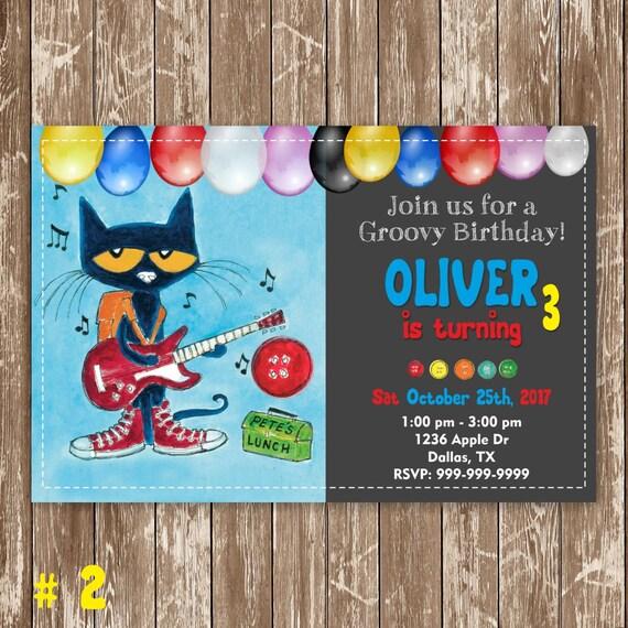 Pete the Cat Birthday Invitation Pete the Cat Invites Pete | Etsy