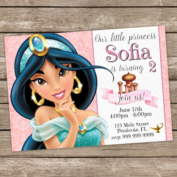 Princess Jasmine Birthday Invitation Disney Invites