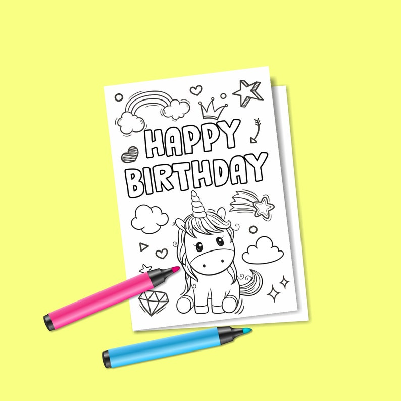 Instant Download Birthday Coloring Card Digital Unicorn Etsy