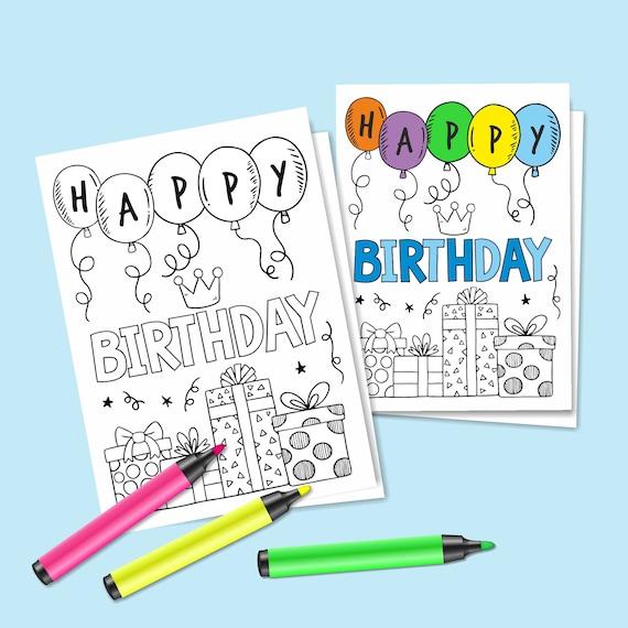 Digital Birthday Coloring Card Happy Birthday Greeting Card