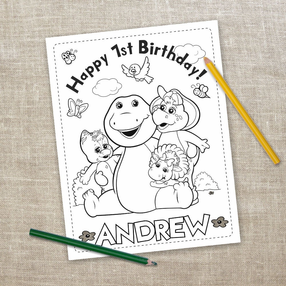 Barney the Dinosaur Digital Coloring Pages 6 Barney the   Etsy