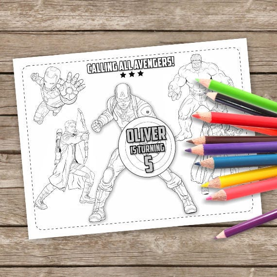Avengers Birthday Coloring Pages 6 Captain America Printable Etsy