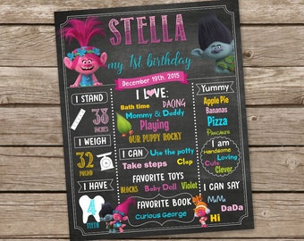 Trolls Chalkboard, Poppy Birthday Chalkboard Sign, Branch Digital, Peanuts Chalkboard Sign, First Birthday Sign, Birthday Poster