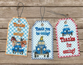 Little Blue Truck Printable Birthday Tags, Digital Gift Tags, Printable Thank you Tags, Birthday Party Favor