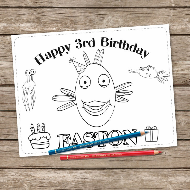 Pout Pout Fish 6 Coloring Pages, Pout Pout Fish Birthday Coloring,  Printable Personalized Set of 6 Coloring Pages