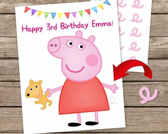 Digital Peppa the Pig Pin the Tail Game, Peppa Printable Game, Peppa Pig Birthday Game, Pin the Tail Party DIY Game