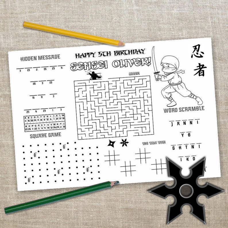 photograph regarding Printable Z Tables titled Printable Ninja Placemat, Children Recreation Desk Mat, Ninja Birthday Craft, Match Website page, Printable Placemat