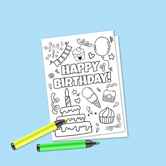 Instant Download Birthday Coloring Card Digital Greeting