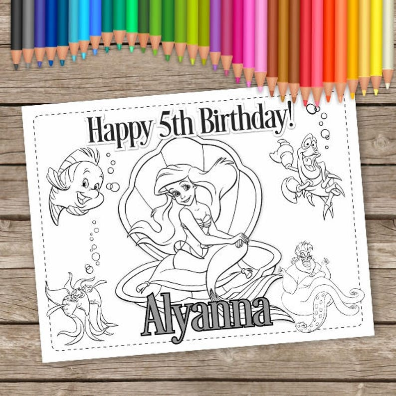Ariel 6 Coloring Pages Little Mermaid Birthday Etsyrhetsy: Ariel Birthday Coloring Pages At Baymontmadison.com