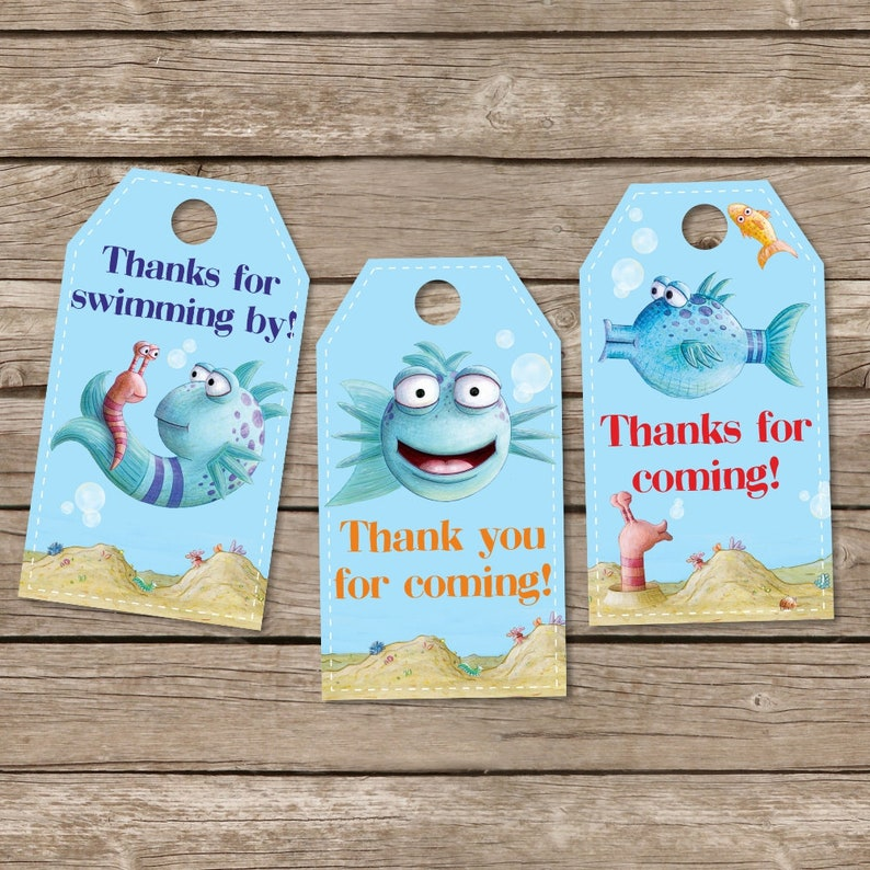 Instant Pout Pout Fish Birthday Tags, Printable Pout Fish Thank You Tags,  Birthday Party Favor, Gift Tags, Baby Shower Gift Tags