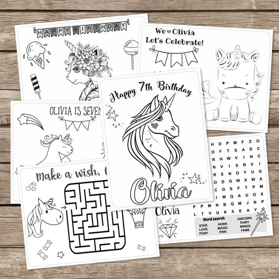 Unicorn 6 Coloring Pages, Magical Birthday Coloring, Printable Unicorn  Birthday, Personalized Set of 6 Coloring Pages