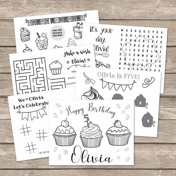 Digital Cupcake Birthday Coloring Pages 6 Cupcake Decorating Etsy