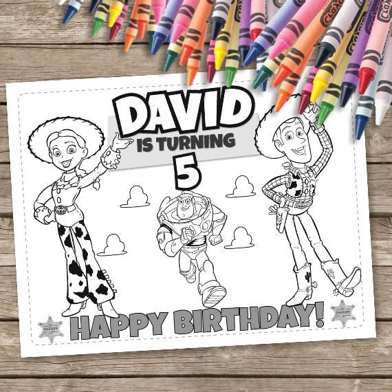 Toy Story Birthday Coloring Pages 6 Toy Story Printable   Etsy