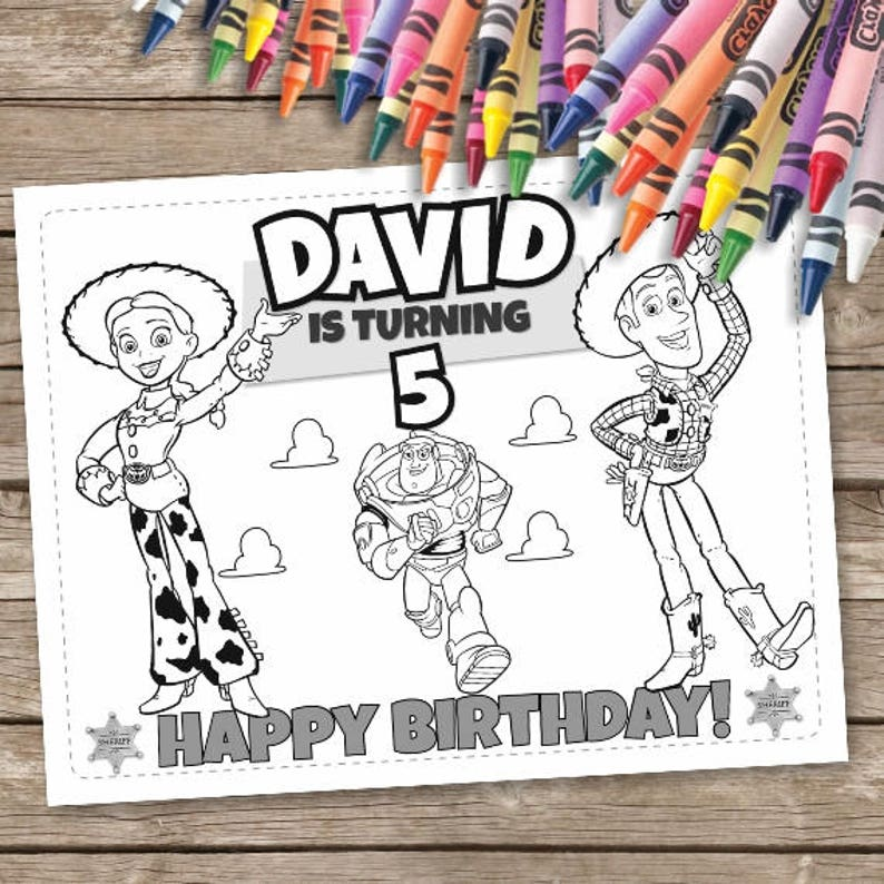 photograph about Toy Story Printable Coloring Pages titled Toy Tale Birthday Coloring Internet pages, 6 Toy Tale Printable Coloring Webpages, Woody Birthday Routines, Hoopla Lightyear Jessie Coloring