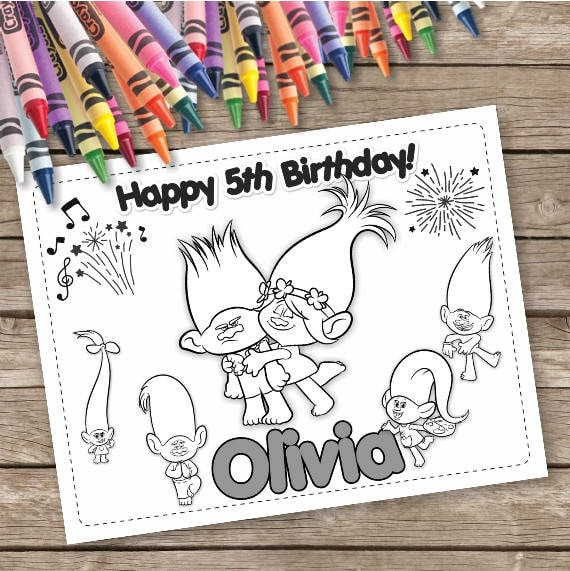 Trolls Digital Coloring Pages 6 Printable Coloring Pages Etsy
