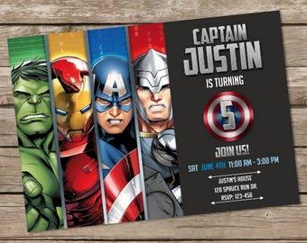 Avengers Birthday Invitation, Hulk Invites, Avengers Birthday, Superheroes Invites, Personalized, Printable, Digital File