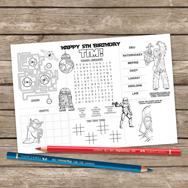graphic relating to Star Wars Printable Crafts identify Printable Star Wars Placemat, Young children Sport Desk Mat, Star Wars Printable, Birthday Craft, Game Site, Printable Placemat
