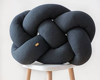 FAT knot cushion - dark grey melange