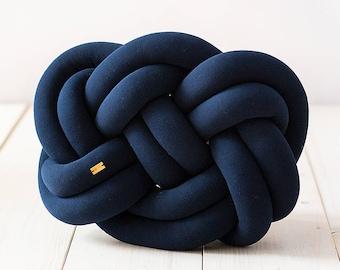 Knot cushion - navy blue