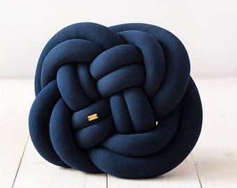 ROSA Knot cushion - navy blue