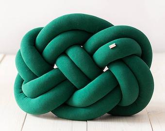 Knot cushion - bottle green