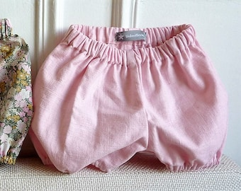 Pink linen baby bloomers