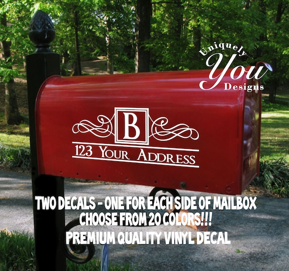Mailbox Decal vinyl mailbox sticker Leafy Dreams mailbox address Personalzied 23 color choices