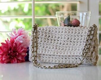 MEDIUM Off White Beige Crochet Bag Purse Handbag