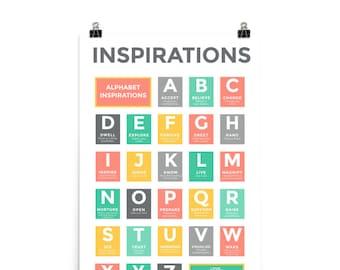"24""x36"" Alphabet Inspirations - Pink Gray Turquoise Yellow"