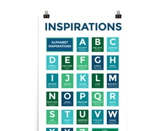 """ABC Inspirations Poster - Blues and Greens - 24"""" x 36"""" Art Print"""