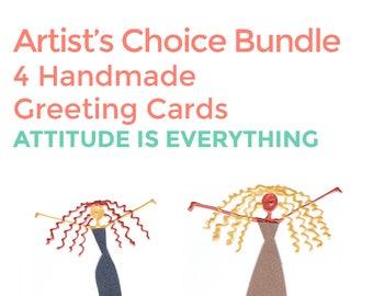 Artist Choice Card Bundle - 4 Handmade Greeting Cards - Attitude is Everything