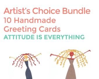 Artist Choice Card Bundle - 10 Handmade Greeting Cards - Attitude is Everything