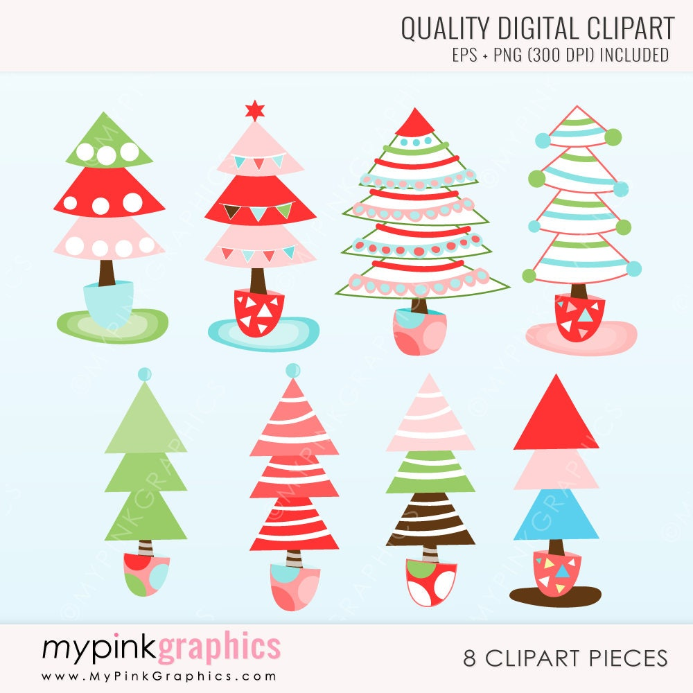 Moderne Weihnachten Bäume Clipart Cute Weihnachten Bäume   Etsy