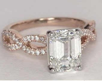 Genuine GIA 2.31ct Emerald Engagement Ring  GIA certified 18kt Pink Gold H-SI1 Infinity Blueriver4747 Loose Diamond GIA
