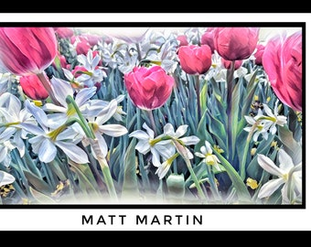 ToeBeTulips - Dallas Botanical Garden, Matt Martin, Painted Tulips, Flower Art, Flower Wall Art, Spring Art, Flowers, Garden Paintings