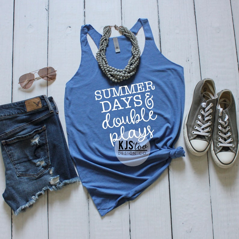3c0c7360a768 Summer Days   Double Plays Tank Baseball Mom Tank Top
