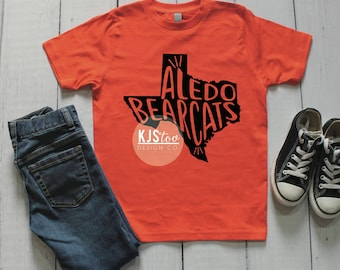 Youth Aledo Bearcats Tee - Aledo TShirt - Bearcats Shirt - Orange and Black Aledo Tee - Aledo Football Tee - Custom Highschool Tee