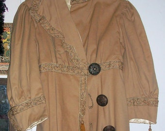 Vintage Women's Edwardian Coat Museum Piece Downton Abbey Wool Silk Lined Minor Flaws