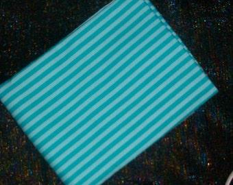 DESTASH 2 yards Michael Miller Clown Stripe Light and Dark Aqua Blue Stripes MUST GO!